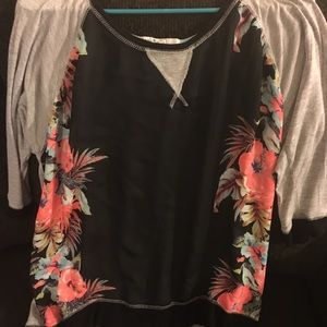 Grey and black floral top